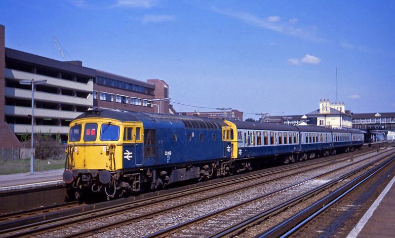 33109, propelling up passenger, Eastleigh, 14-4-82.