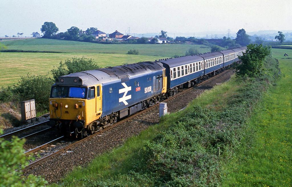 50008, up passenger, Willand, near Tiverton,  4-6-82.