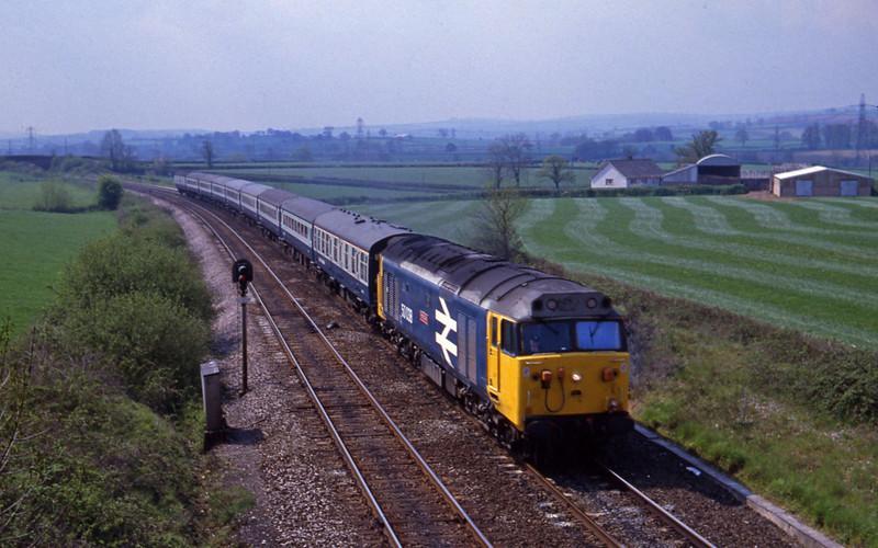 50038, up passenger, Willand, near Tiverton, 8-5-82.