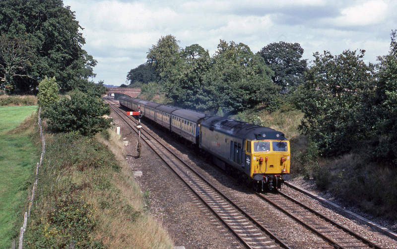 50, down passenger, Willand, near Tiverton, 7-9-82.