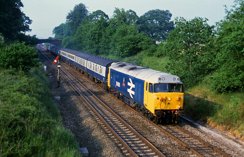 50035, down passenger, Willand, near Tiverton, 4-6-86.