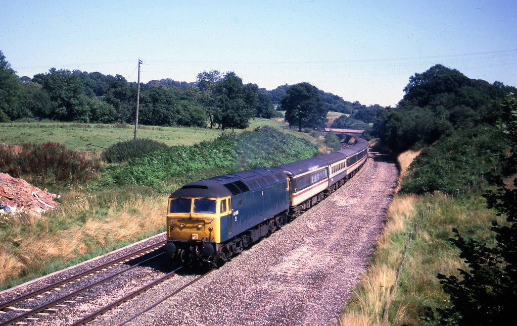 47435, 08.40 Liverpool-Penzance, Whiteball, 15-8-87.