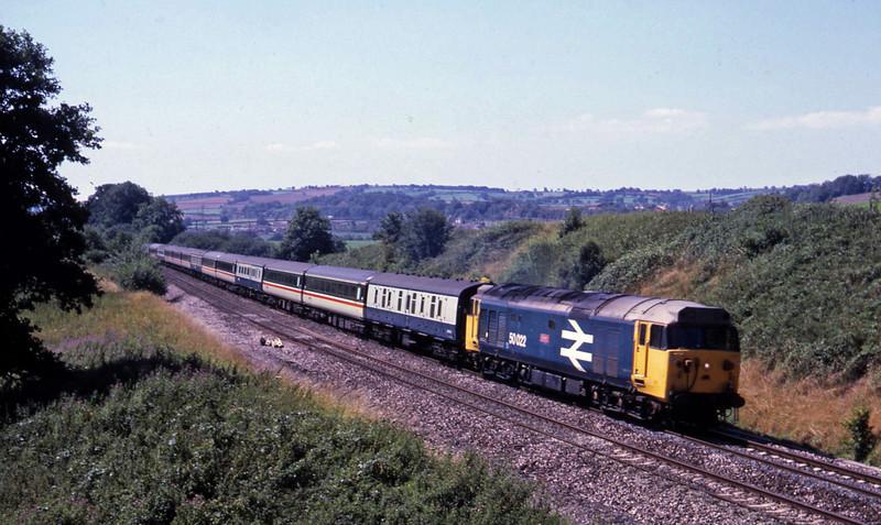 50022, 10.30 Penzance-Glasgow, Whiteball, 15-8-87.