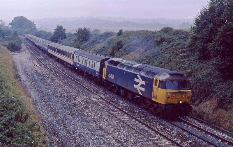 47453,, 10.27 Penzance-Glasgow, Whiteball, 21-9-87.