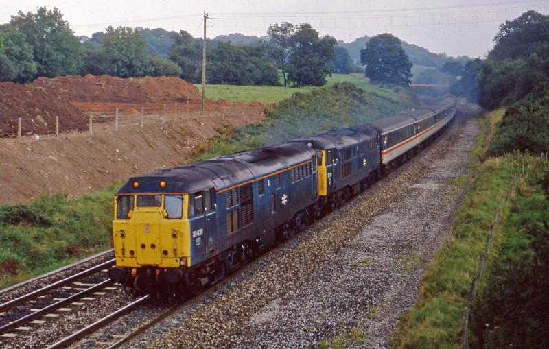 31431/31311, 10.10 Manchester Piccadilly-Paignton, Whiteball, 17-9-88. 47217 banking.