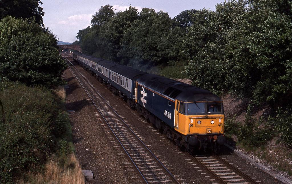 47816, 13.36 London Paddington-Plymouth, Willand, near Tiverton, 24-8-89.