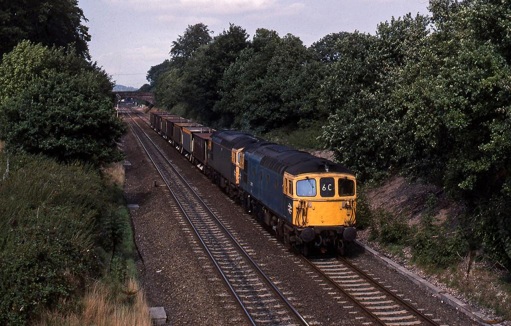 33111/33211, down ballast empties, Willand, near Tiverton, 24-8--89.