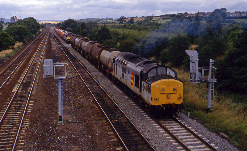 37381, up tanks, Clay Cross, near Chesterfield, 28-7-93, in front of 60080, up stone.