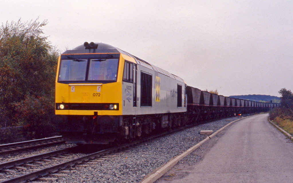 60072, mgr, departing Gascoigne Wood, 27-10-93.