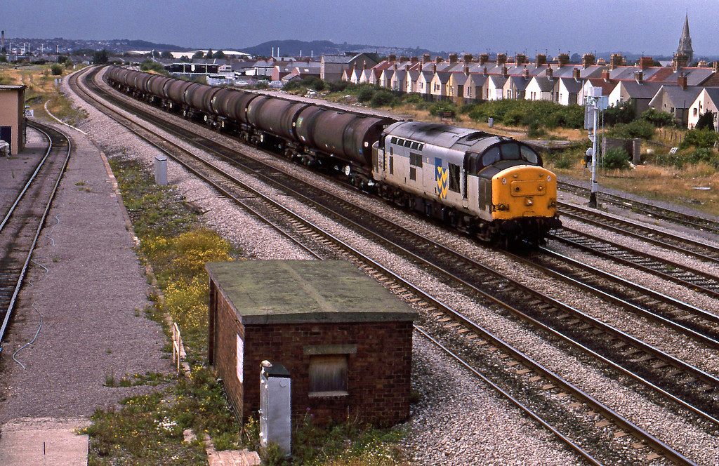 37904, up tanks, passing Cardiff Canton TMD, 18-8-94.