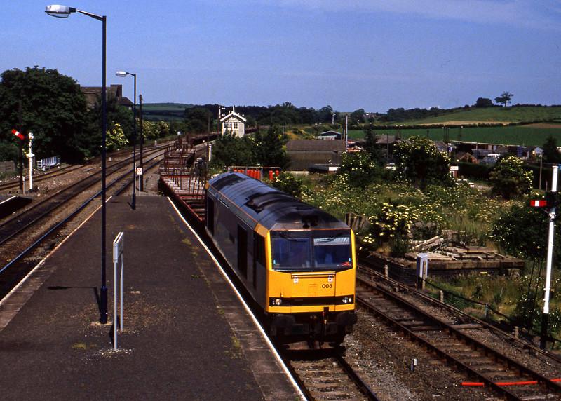 60008, westbound steel, Barnetby, 23-6-94.