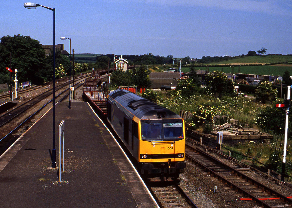60008, westbound steel, Barnetby, 23-6-94.