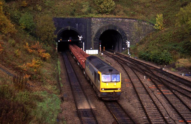 60063, down steel empties, Gaer Junction, Newport, 26-10-94.