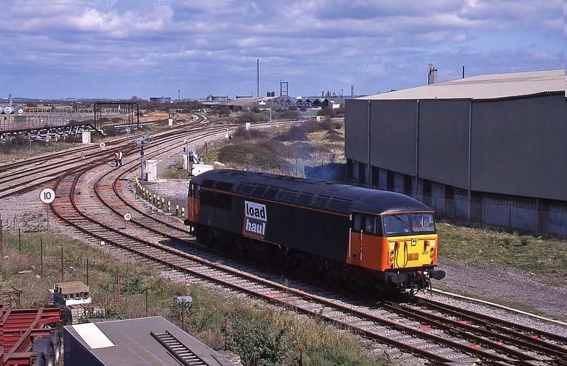 56050, shunting 12.40 Avonmouth-Immingham empties, Hallen Marsh Junction, Avonmouth, 7-4-95.