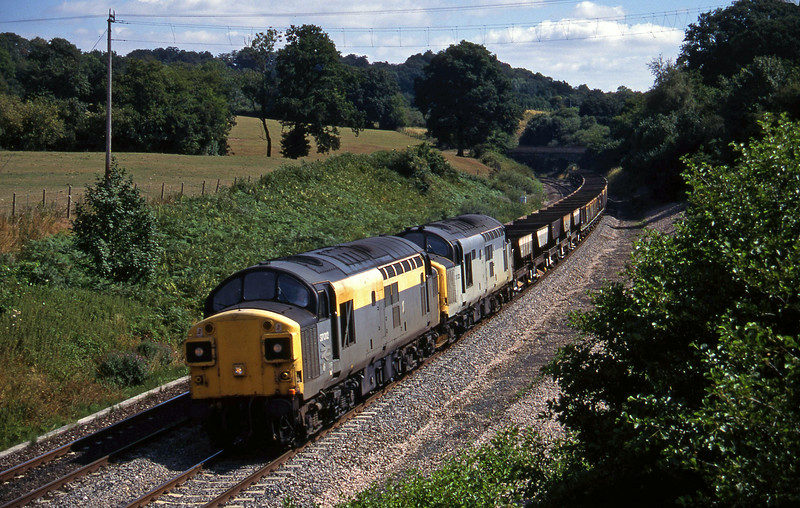 37012/37222, 10.00 Westbury-Meldon Quarry, Whiteball, 8-8-95.