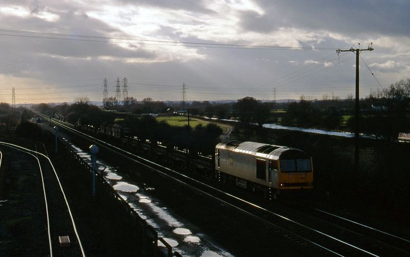 60090, down steel, Stenson Junction, near Derby, 17-2-95.