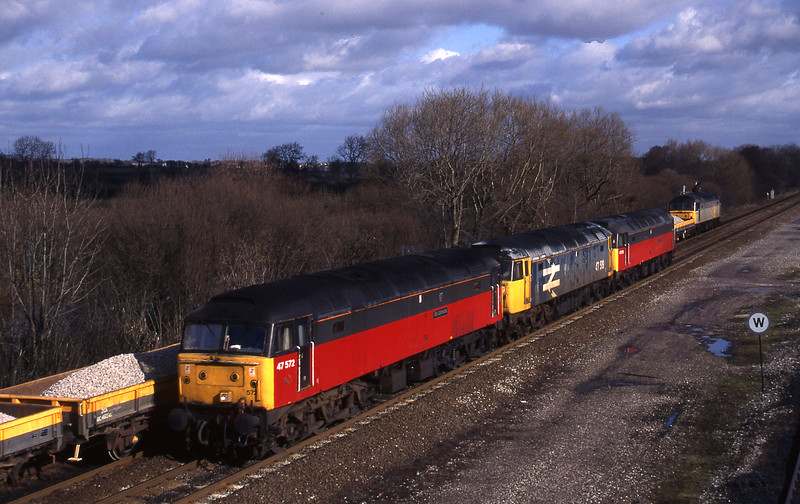 47572/47519/47575, up light; 47256, down ballast, Stenson Junction, near Derby, 17-2-95.