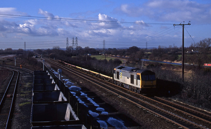 60007, down steel, Stenson Junction, near Derby, 17-2-95.