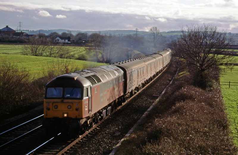 47764, 13.57 Plymouth-Crewe, Willand, near Tiverton, 3-2-95.