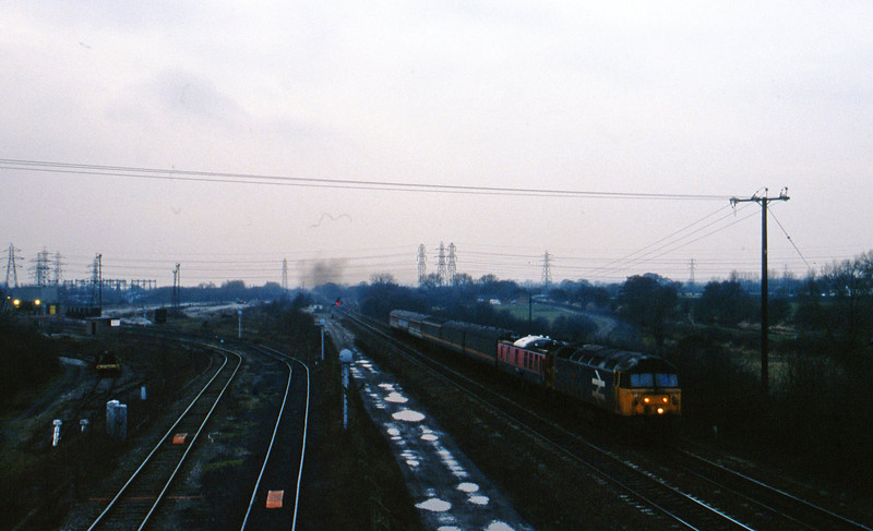 47971, down test train, Stenson Junction, near Derby, 24-2-95.