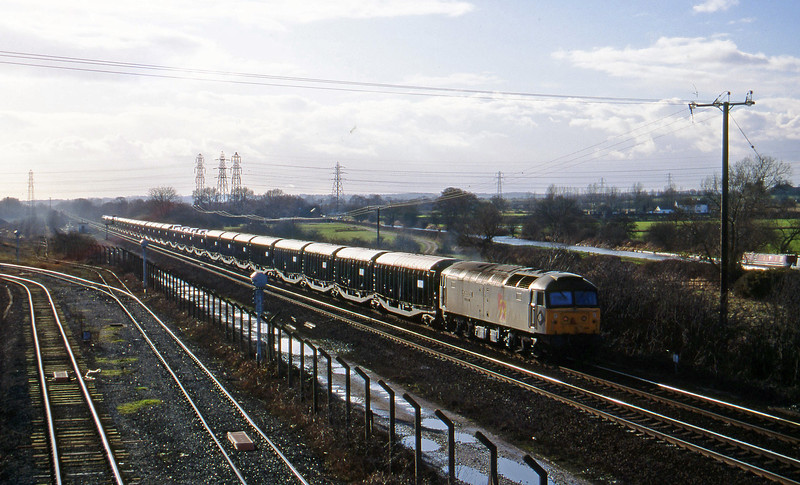 47198, Washwood Heath-Harwich cars, Stenson Junction, near Derby, 17-2-95.