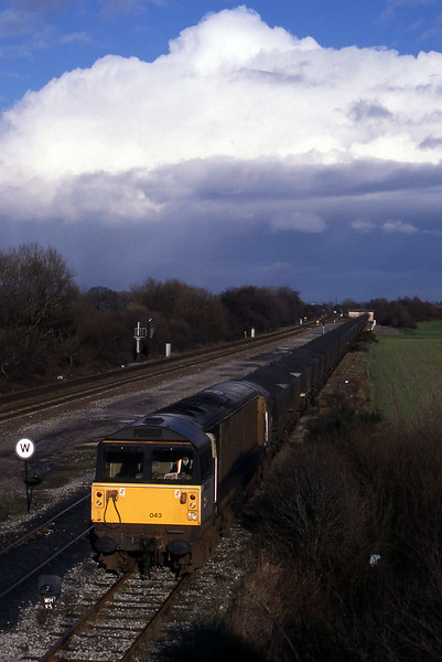58043, down mgr to Willington Power Station, Stenson Junction, near Derby, 17-2-95.