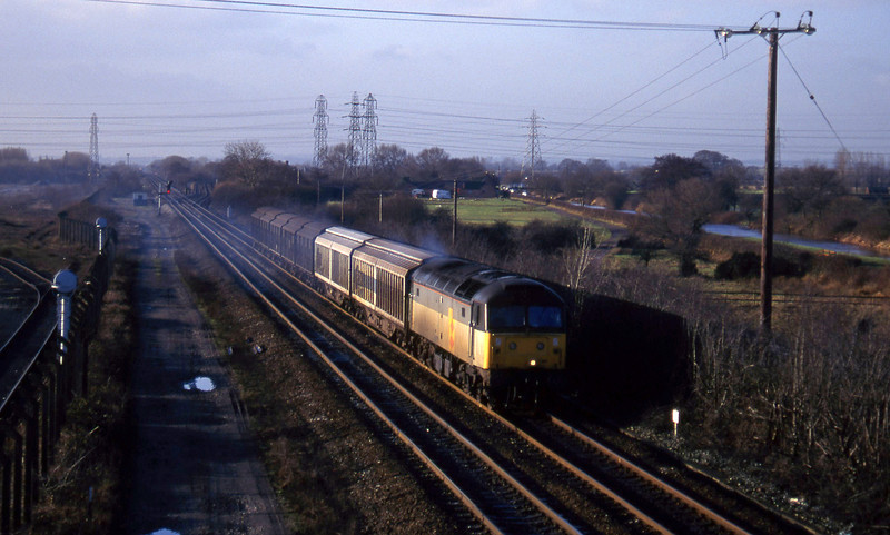 47281, south to north Ferrywagons, Stenson Junction, near Derby, 6-1-95.