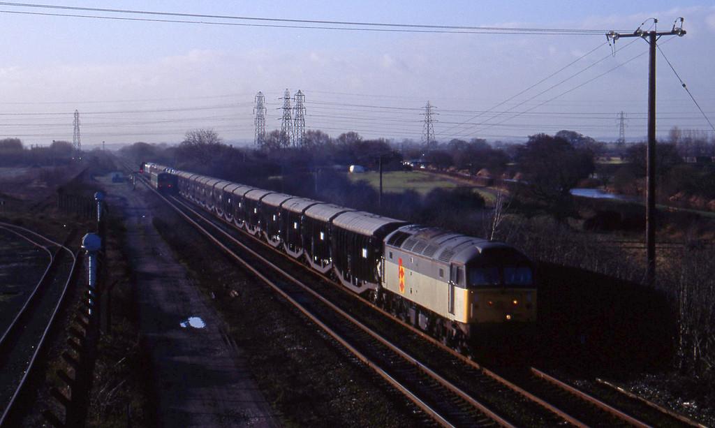 47222, Washwood Heath-Ely cartics, Stenson Junction, near Derby, 6-1-95. 150127, north to west.