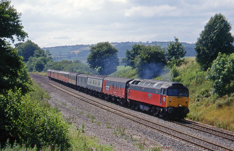 47489, 13.57 Plymouth-Crewe, Whiteball, 13-7-95.