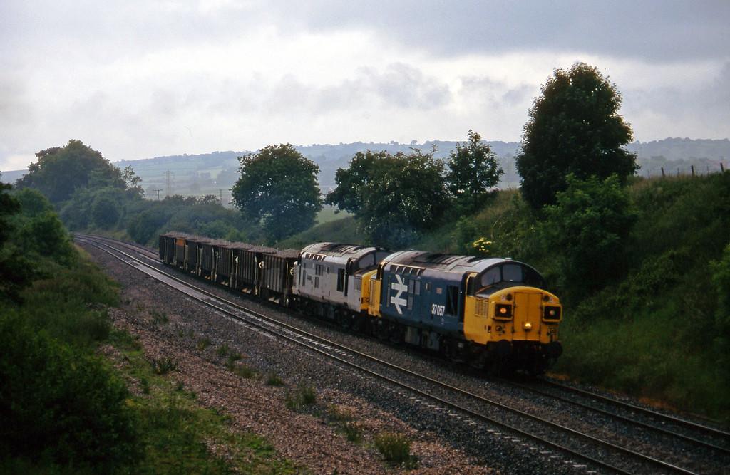 37057/37137, 14.08 Meldon Quarry-Eastleigh, Whiteball, 20-6-95.