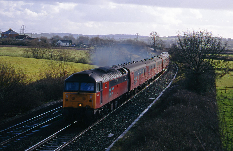 47566, 13.53 Plymouth-Crewe, Willand, near Tiverton, 8-3-95.