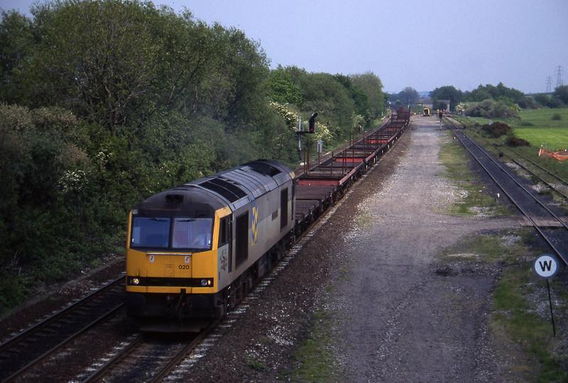 60020, up steel empties to Etruria, Stenson Junction, near Derby, 23-5-95.