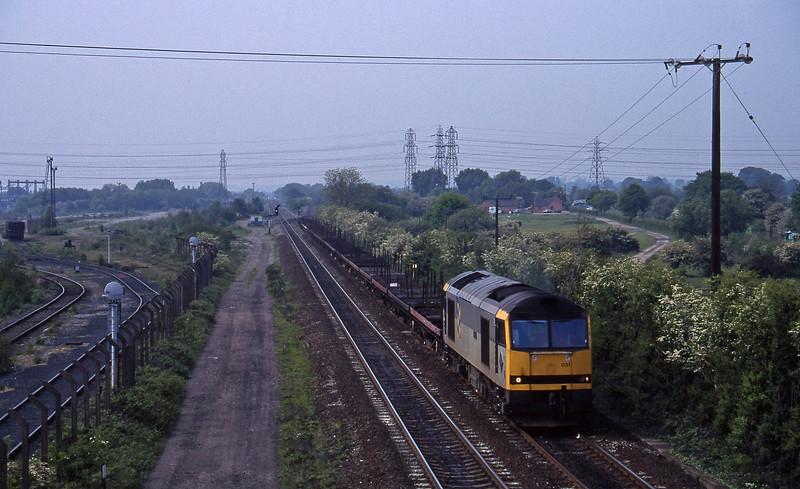 60031, Wolverhampton Steel Terminal-Lackenby, Stenson Junction, near Derby, 23-5-95.