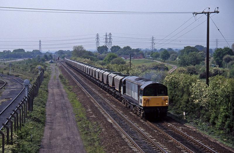 58002, down mgr empties, Stenson Junction, near Derby, 23-5-95.