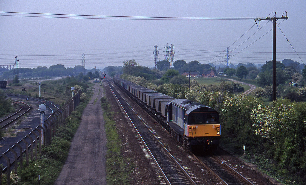 58009, down mgr empties, Stenson Junction, near Derby, 23-5-95.