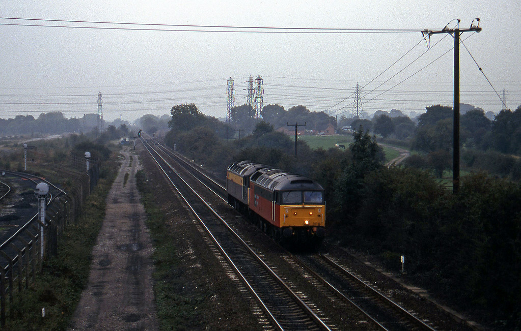 47492/47976, south to north light, Stenson Junction, near Derby, 11-10-95.