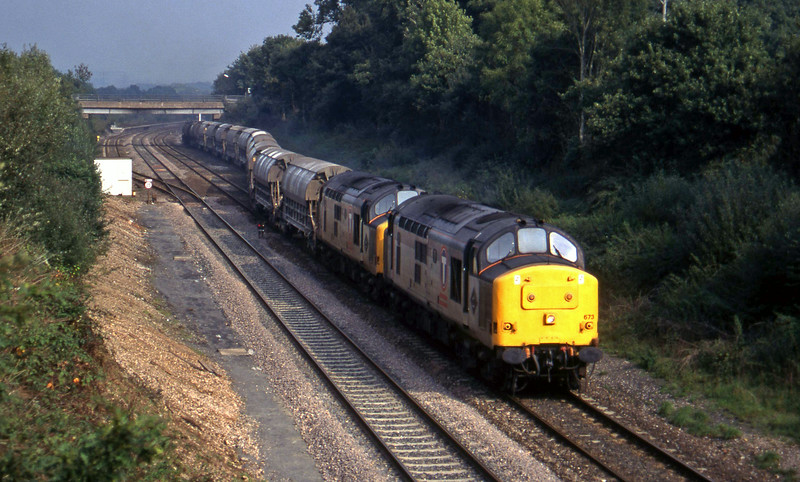 37673/37668, 08.50 Bescot-St Blazey, departs Tiverton Loops, Willand, near Tiverton, 14-10-95.