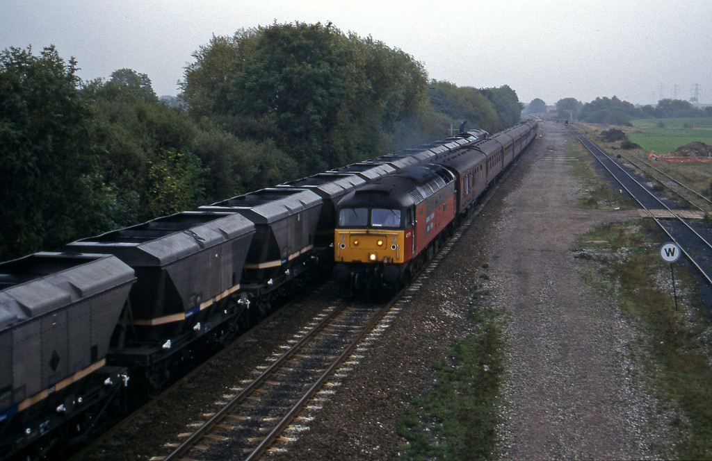 47771, north to south ecs, Stenson Junction, near Derby, 11-10-95. 58047, south to east mgr empties,