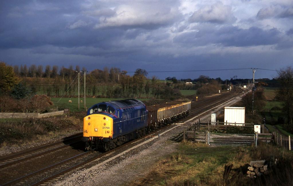 37798, down ballast empties, Cogload, 4-12-96.