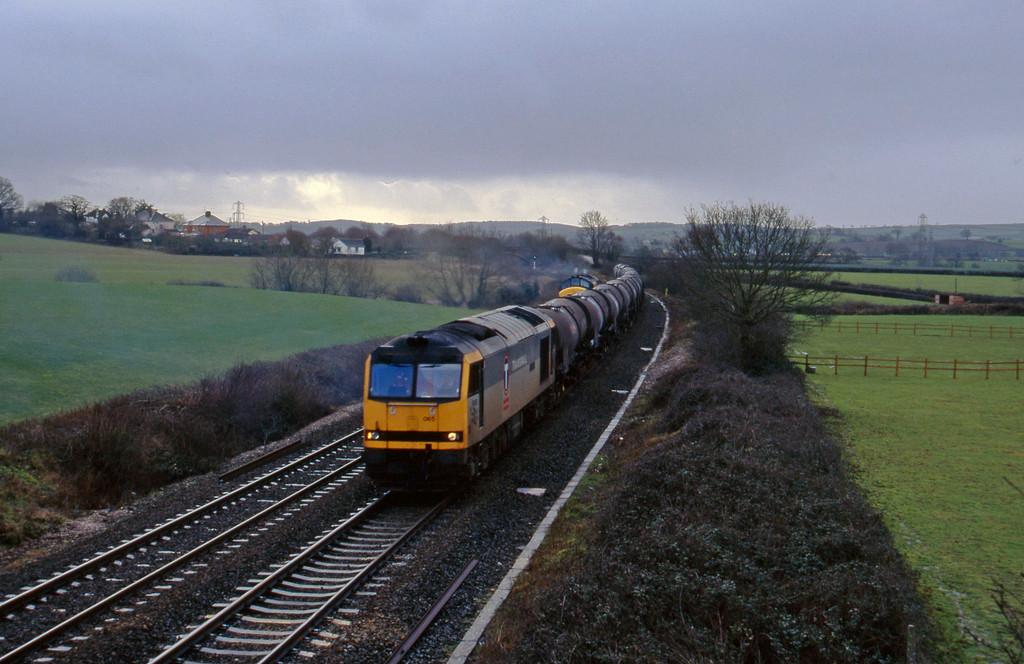 60065, 09.40 Burngullow-Newport Alexandra Dock Junction, Willand, near Tiverton, 10-2-96.