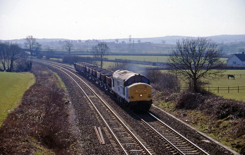 37890, up ballast, Willand, near Tiverton, 28-2-96.