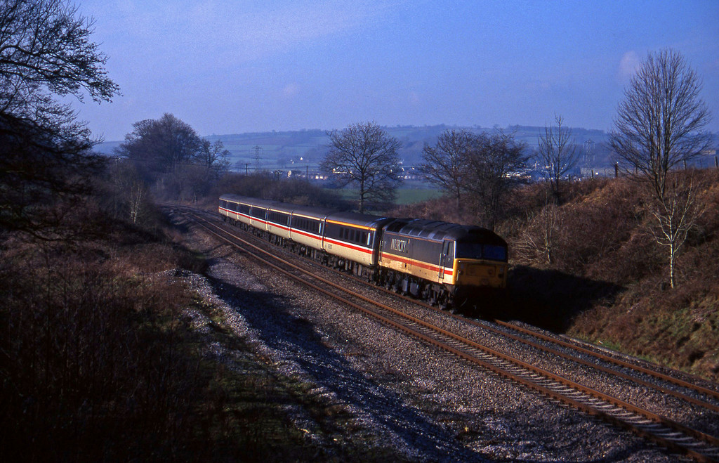 47828, 10.44 Plymouth-Manchester Piccadilly, Whiteball, 3-2-96.