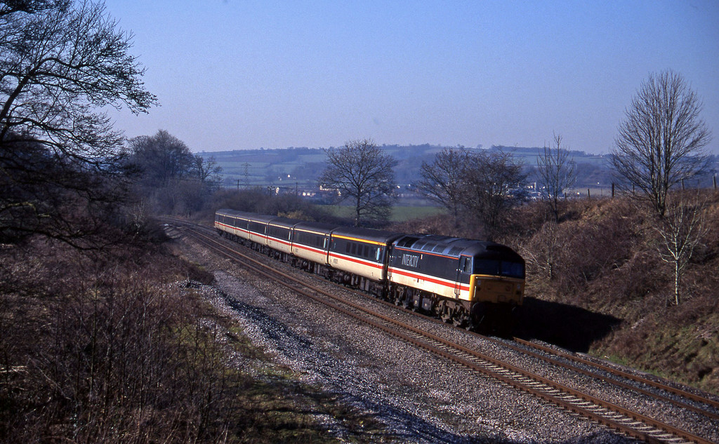 47847, 10.44 Plymouth-Manchester Piccadilly, Whiteball, 28-2-96.