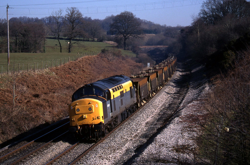 37377, down ballast empties, Whiteball, 28-2-96.