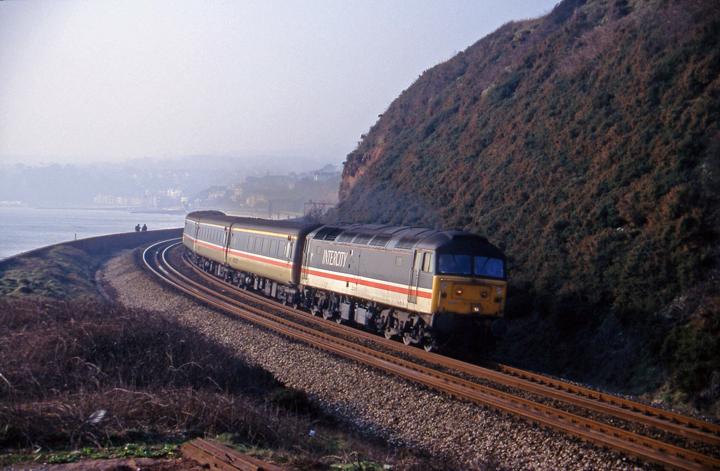 47814, 10.44 Plymouth-Manchester Piccadilly, Dawlish Warren, 2-2-96.