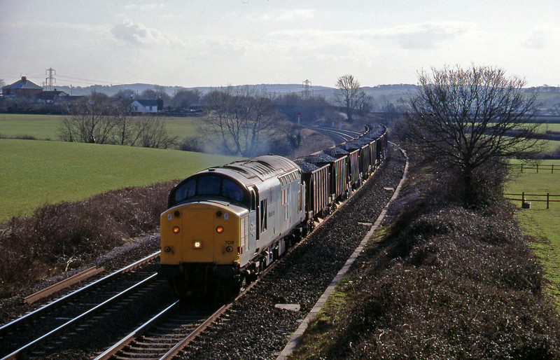 37709, up ballast, Willand, near Tiverton, 21-2-96.