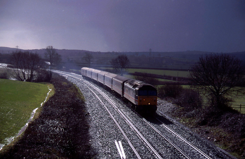 47841, 11.44 Plymouth-Liverpool Lime Street, Willand, near Tiverton, 10-2-96.