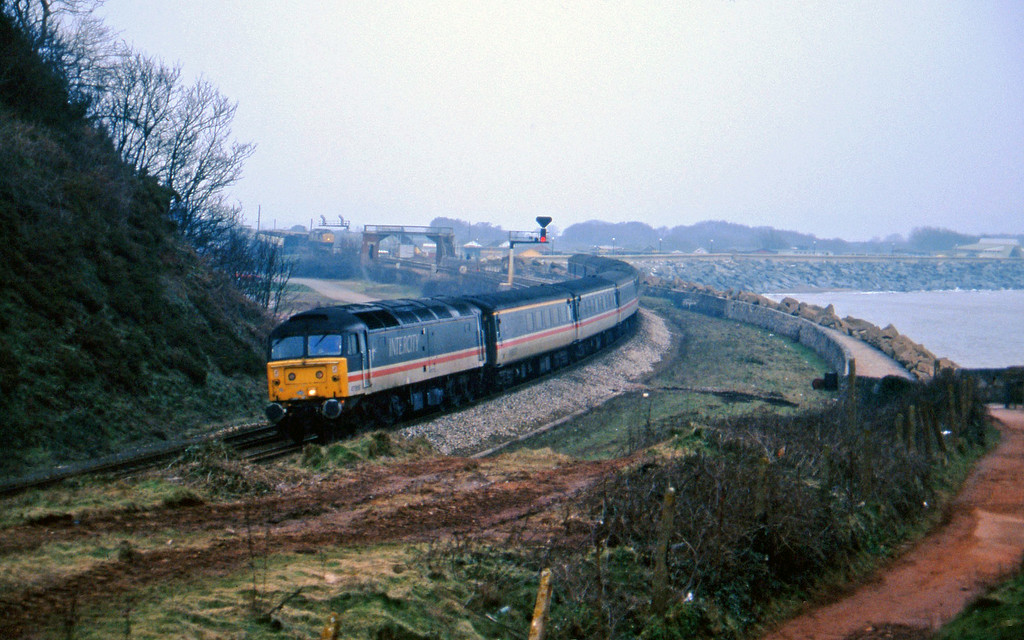 47806, 09.10 Liverpool Lime Street-Plymouth, Dawlish warren, 2-2-96. 37229, down ballast.