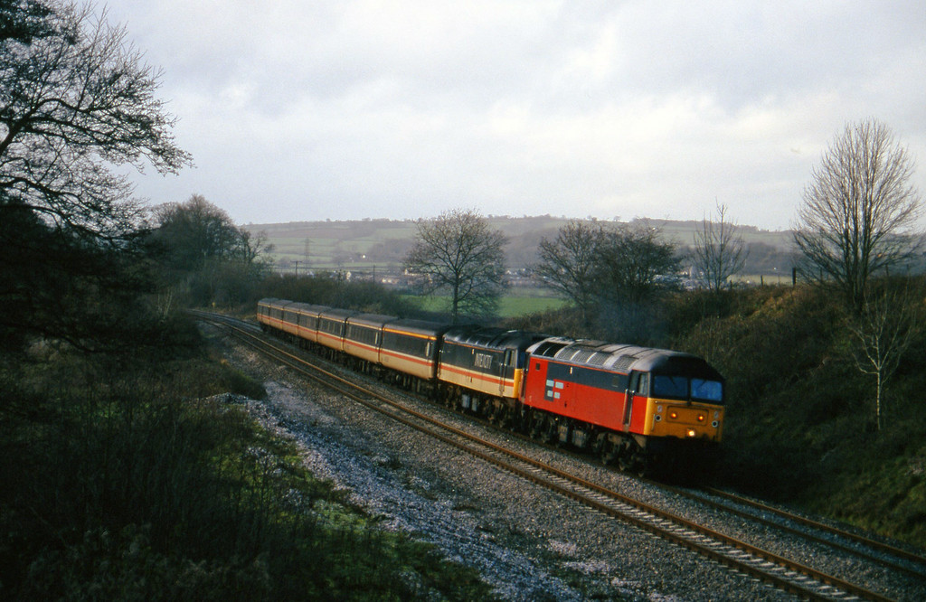 47761/47849, 10.44 Plymouth-Manchester Piccadilly, Whiteball, 9-1-96.