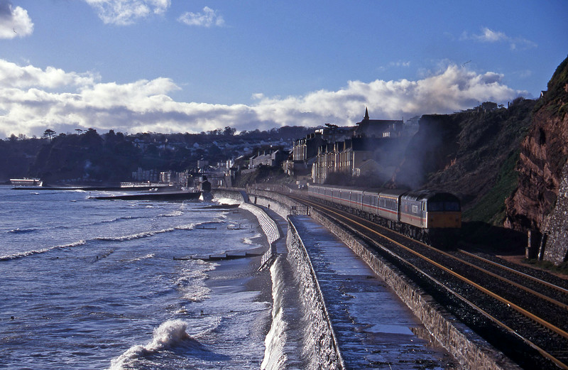47841, 11.40 Plymouth-Liverpool Lime Street, Dawlish, 10-1-96.
